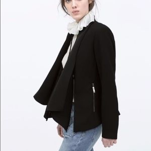 NWOT Zara Draped Zip Collar Multi Way Black Jacket